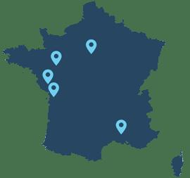 Les antennes d'Hespéranges en France